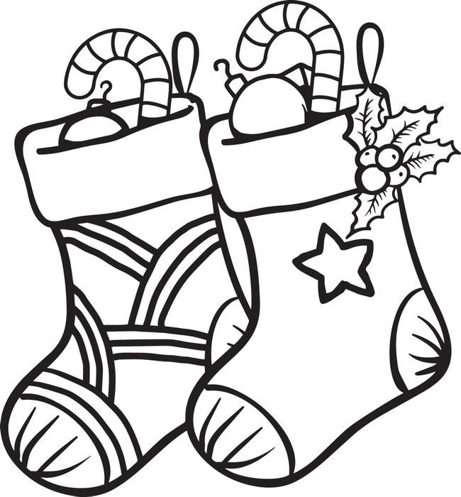 Christmas Stockings Coloring Page 1