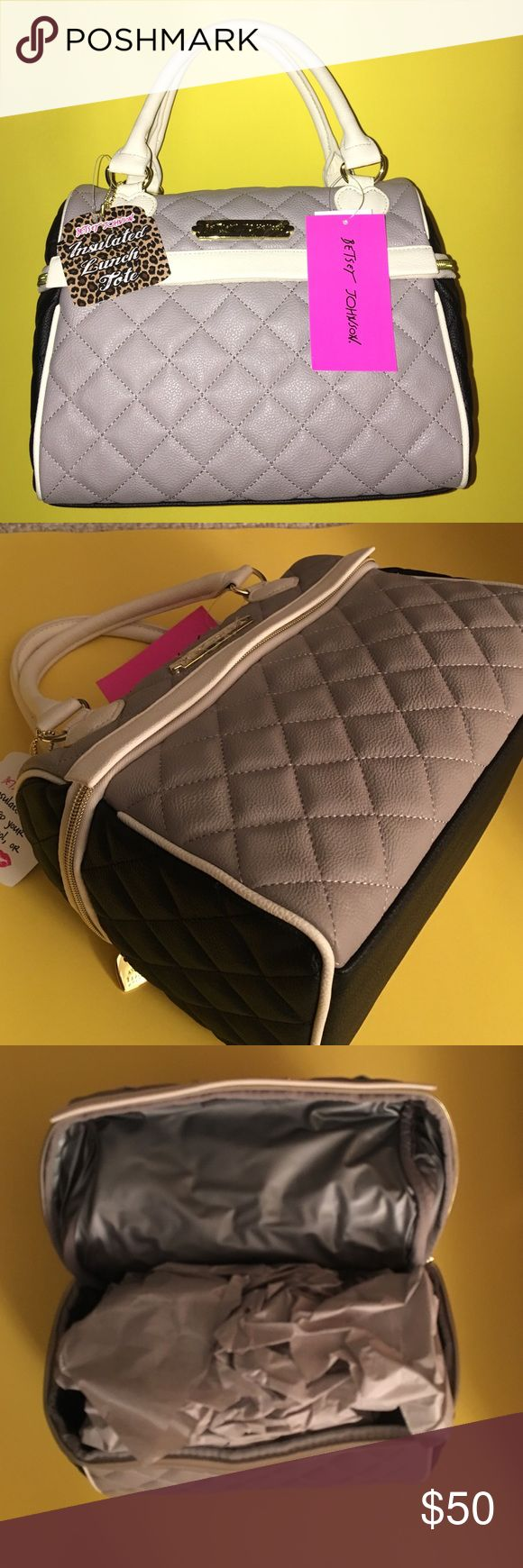 💋Speedy LUNCH Satchel OFFICE TOTE lunchbox tote👜 👄BETSEY JOHNSON LUNCH TOTE -SPEEDY GRAY💕 - BBLT075 🚌🍴🍱🎒👝👑💋SATCHEL NEW WITH TAGS 🚌🍴🍱🎒👝👑💋whether at school or work take your lunch with you in style.  Cooler bag Betsey Johnson Bags Satchels