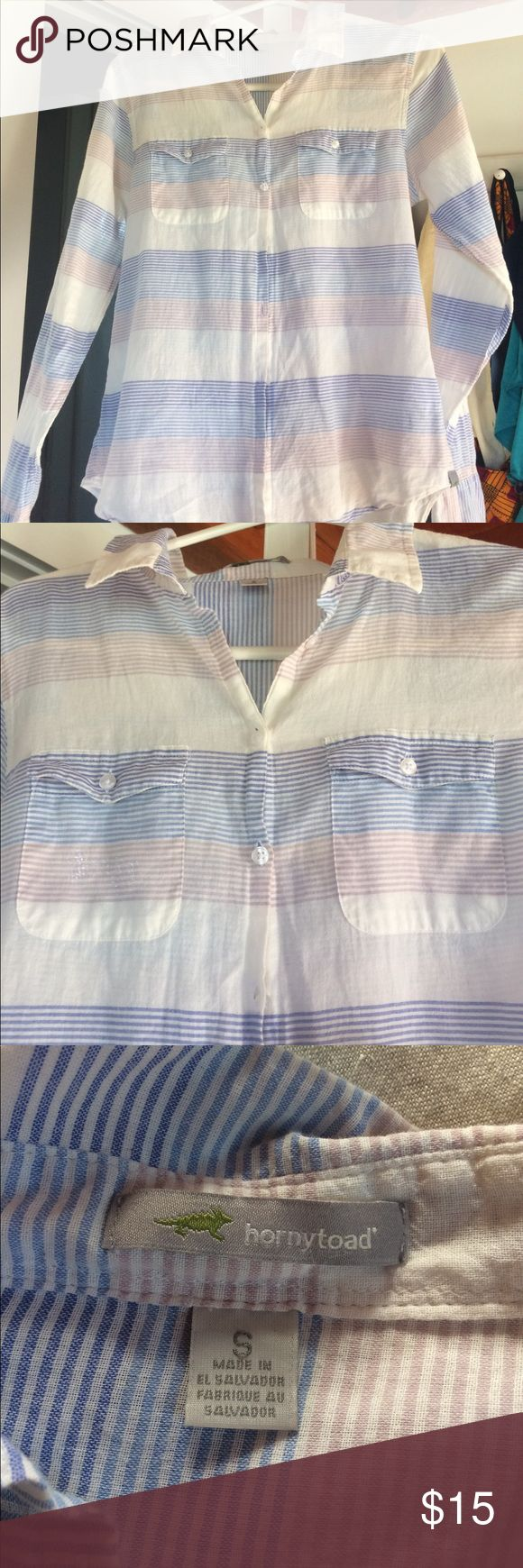 """Organic cotton lightweight button up I love this super soft shirt. It's perfect for a cover up on a hot day.  Sadly, it's a touch too narrow for me (I'm 5'4"""" with a muscular back) Horny Toad Tops Button Down Shirts"""
