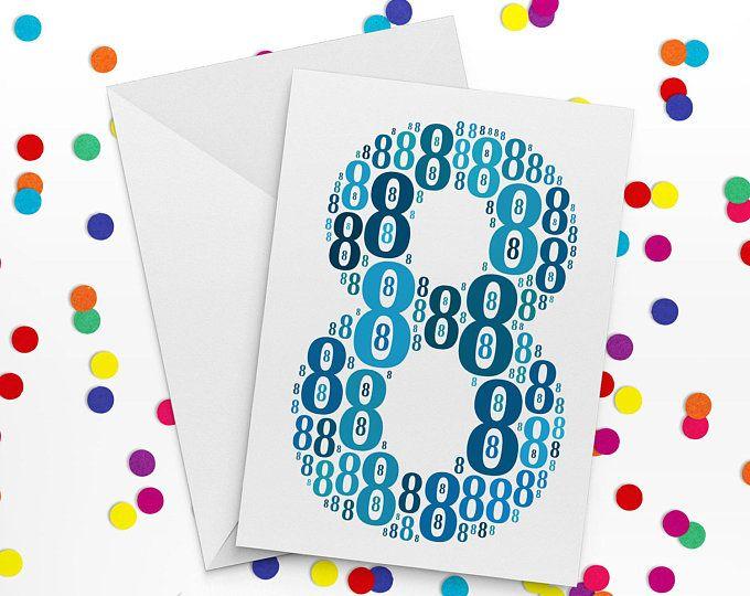 Eighth Birthday Card, Number Eight Card, Eighth Wedding Annniversary Card, 8th Birthday, Happy Birthday Card, 8th Wedding anniversary