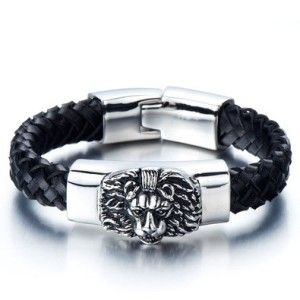 Awesome 21st Birthday Guys: Braided Leather Bracelet for Men with Stainless Steel Lion and Black Genuine Leather Straps