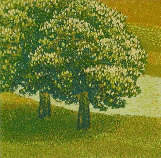 Milos Slama - Chestnut Tree in Blossom - (8-color linocut)