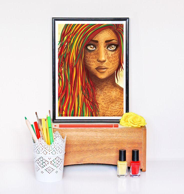 No Woman No Cry (Bob Marley) Reggae Lyrics Poster, Song Illustration, Music Art Print by DrawMeASong on Etsy https://www.etsy.com/listing/124881261/no-woman-no-cry-bob-marley-reggae-lyrics