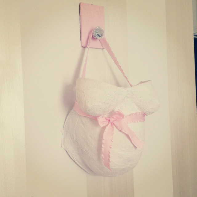 Baby girls room! Belly mold and ribbon and hook from Hobby Lobby!!