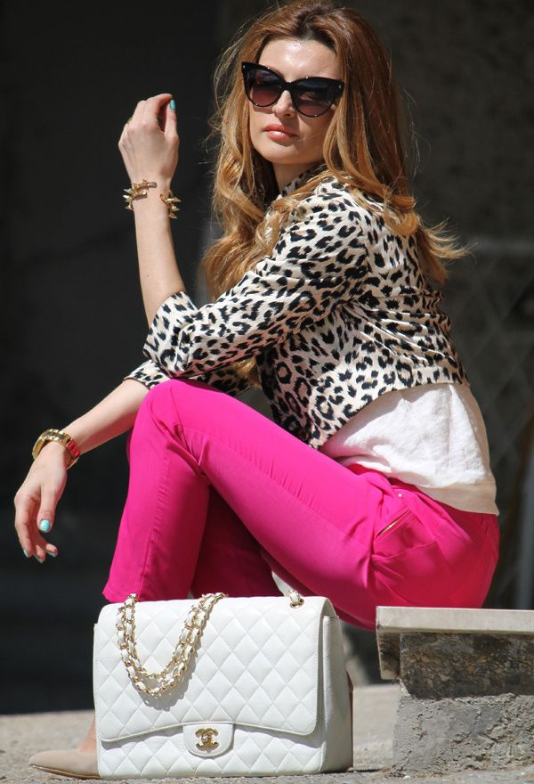 Hot pink ankle pant, white blouse, leopard cropped jacket, nude heels, AWE-SOME white leather Chanel bag