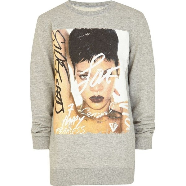 River Island Kids grey Rhianna album print sweatshirt ($21) via Polyvore