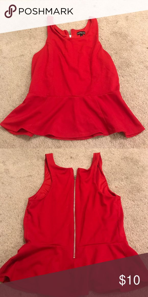 Red peplum top Bright red peplum top with zipper Express Tops Tank Tops