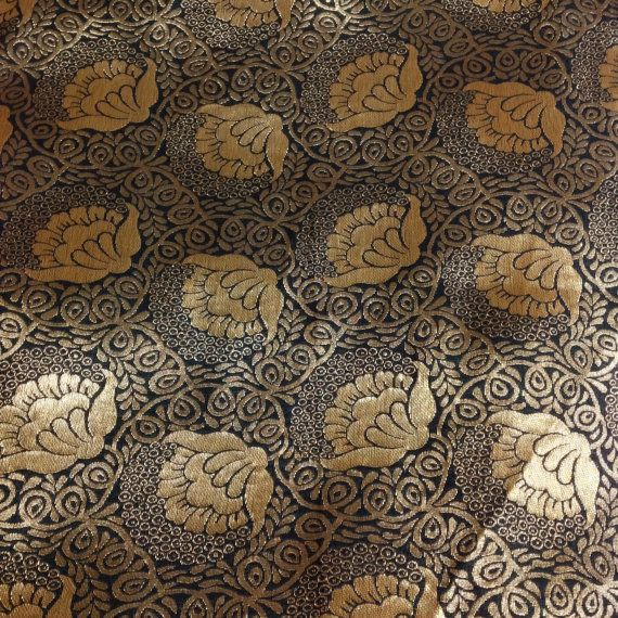 Floral Pattern Black And Gold Brocade Fabric Banaras