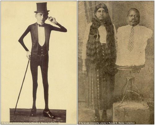 Eddie Masher (à esquerda), e seu esqueleto bizarro, e Prince Randian, que nasceu sem braços e pernas, mas conseguia se barbear, pintar, escrever e enrolar fumo