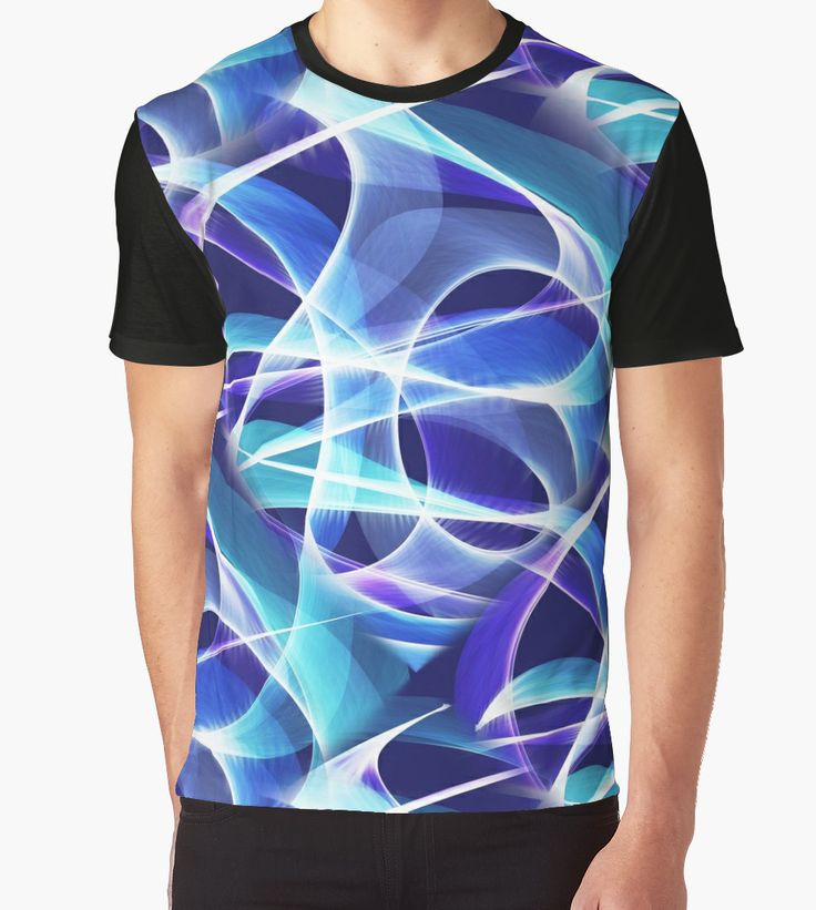 Waves Pattern on Dark Blue Graphic T-Shirt by Terrella