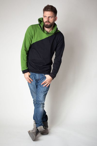 sorted+Männer+Hoodie+mit+grüner+Passe+im+Vordertei+von+sorted-clothing+auf+DaWanda.com