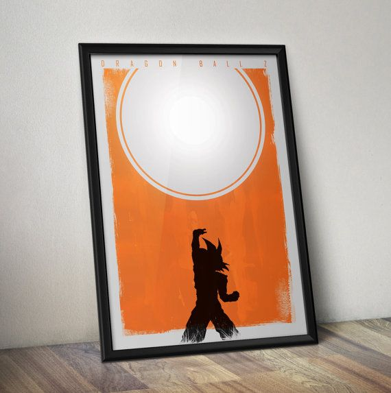Dragon ball z inspired minimal poster goku anime art for Minimal art wall