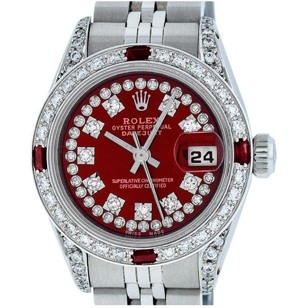 Pre-owned Rolex Datejust Watch (12.835 BRL) ❤ liked on Polyvore featuring jewelry, watches, red, red watches, pre owned jewelry, preowned jewelry, pre owned watches and rolex