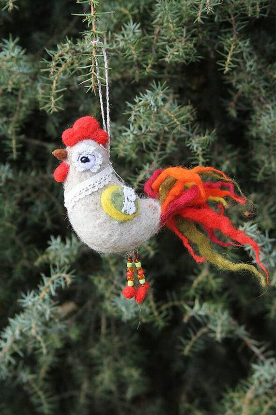 Cockerel Christmas tree decoration cute Christmas by FeltPetsShop