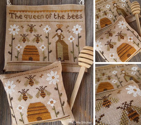 The Queen of the Bees - PDF DIGITAL Primitive Cross Stitch Pattern