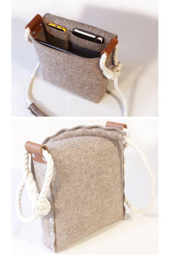 Bandolera de fieltro con correa de cuerda de algodón por Rambag
