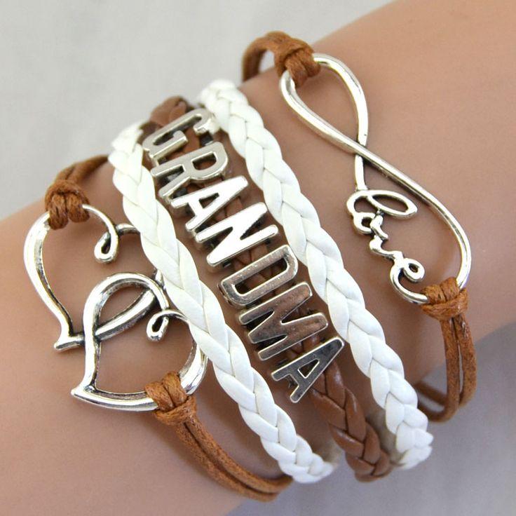 Wholesale Fashion Jewelry Infinity Love Mom Grandma Heart Charms Rope Bracelet For Women Wrap Leather Bracelets bangles