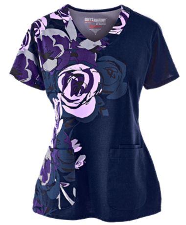 Grey's Anatomy Scrubs Signature Rose Ore Print Top Style # GA2138RS…