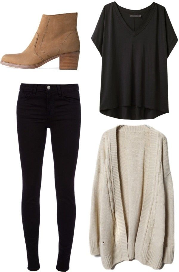 Simple casual fall outfit. Gray tee, tan cardigan, black pants, tan booties.