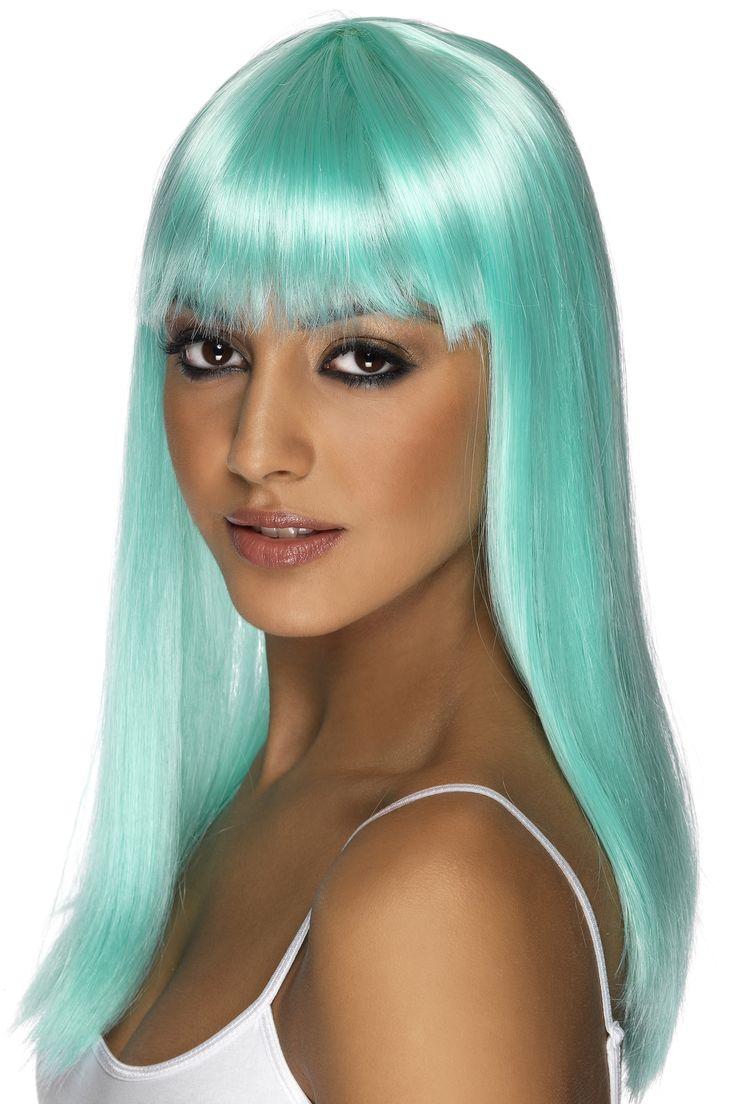 perruque longue bleue turquoise frange femme cette perruque aux cheveux mi long pour - Perruque Colore