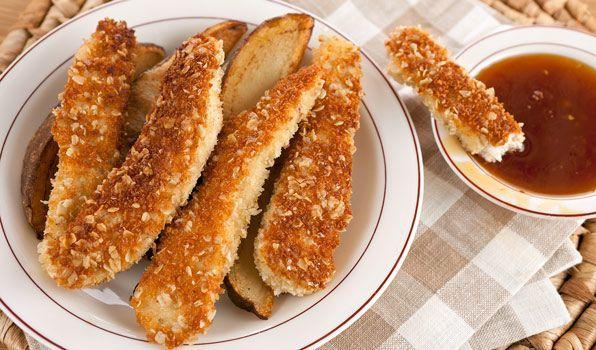 Τραγανά+στικ+κοτόπουλου+με+σάλτσα+μελιού+σκόρδου