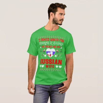 Santa Sent Russian Wife Christmas Ugly Sweater Tee - merry christmas diy xmas present gift idea family holidays