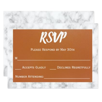 Copper & White Marble Wedding RSVP Reply Card - rsvp gifts card cards diy unique special