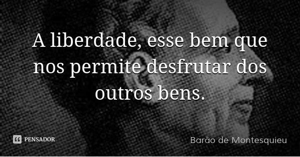 A liberdade, esse bem que nos permite desfrutar dos outros bens.... Frase de Barão de Montesquieu.