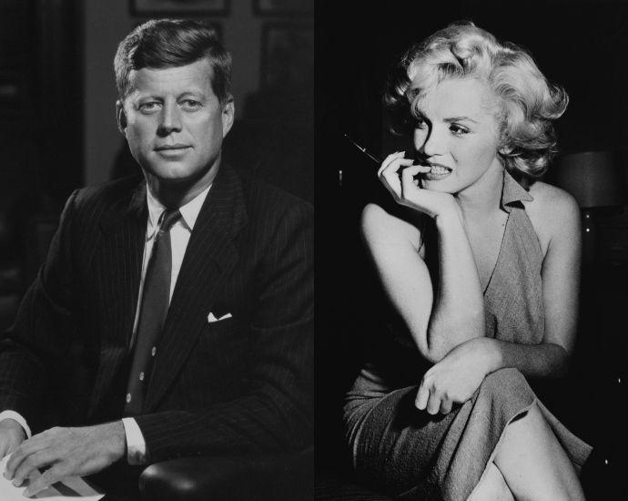 Джон  Кеннеди  и  Мэрилин  Монро. Шестилетний роман, начавшийся с тогдашним сенатором Джоном Кеннеди, у актрисы Мэрилин Монро начался как обычная секс-интрижка, а закончился для актрисы распадом брака с единственным по-настоящему любившим ее человеком – баскетболистом Джо ДиМаджио.
