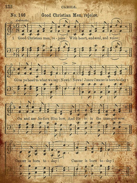 Grungy leeftijd Vintage Christmas Carol muziek digitale blad INSTANT Printab-2 vellen - goed christen mannen zich verheugen en goede koning Wenceslas