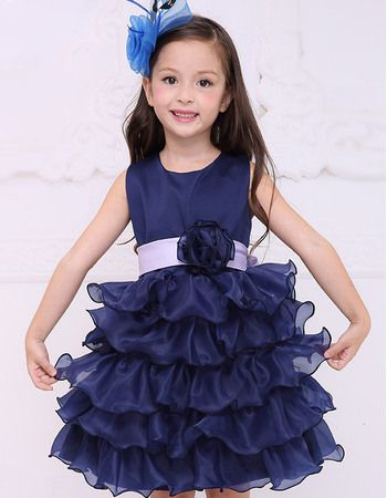 e6607ab1622 Find pretty ball gown round neck short organza ruffled layered skirt flower  girl dresses with sashes and hand-made flowers