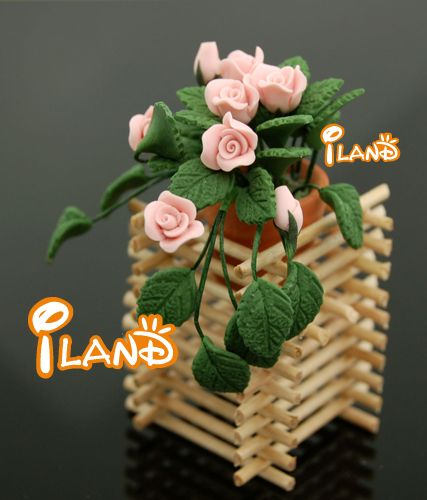 PINK ROSE W/ Rack flower Clay Plant Dollhouse Miniature Free Shipping