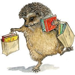 Hedgehog skipping home from the bookshop