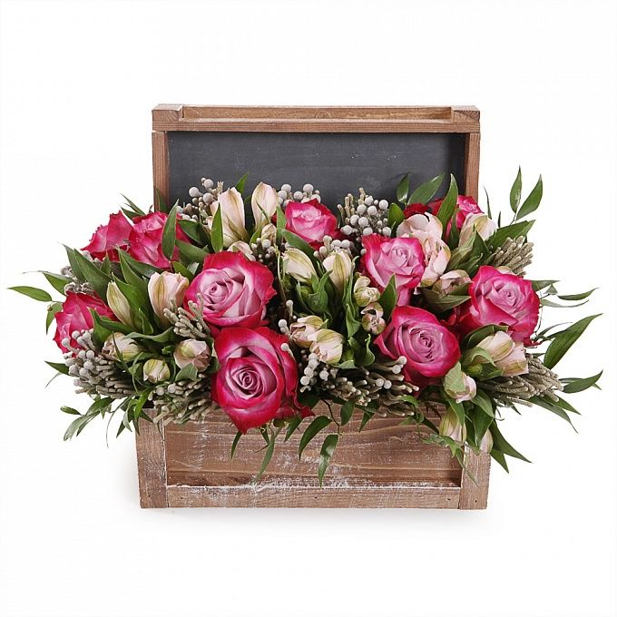 Букет в сундучке фото, подобрать цветы подарок