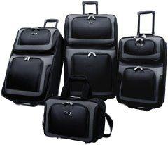 US Traveler New Yorker 4 Piece Luggage Set Expandable,Black,One Size | Cheap Luggage Sets