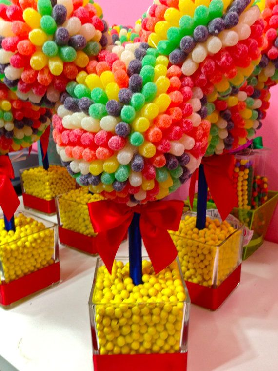 Disney Inspired Mickey  Minnie Mouse Clubhouse Gum Drop Centerpiece  Candy Topiary, Candy Buffet Decor,  Mitzvah, Birthday on Etsy, $89.99