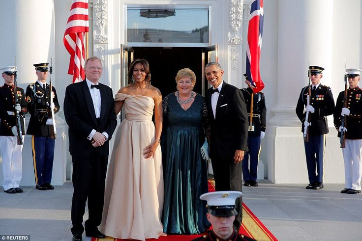 Norwegian Prime Minister Erna Solberg and her husband Sindre Finnes were also in attendanc...
