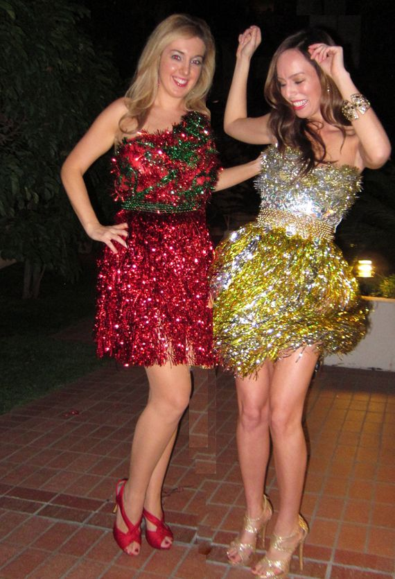 What to wear to an Anything But Clothes Christmas party tinsel fring skirt DIY