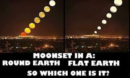 Flat earth believers say the Moon never sets or rises, it stays the same distance over the Earth throughout it's daily/annual concentric clockwise circles around the circumference. The appearance of rising and setting is all based on the law of perspective on plane surfaces. The Moon luminary is perpetually hovering over and parallel to the surface of the Earth.  So according to the law of perspective the moon should change in size like in the right side of the picture.  So does it?…