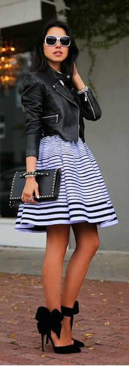 STUDS & STRIPES - KENZO DRESS & LEATHER MOTO JACKET / VivaLuxury: