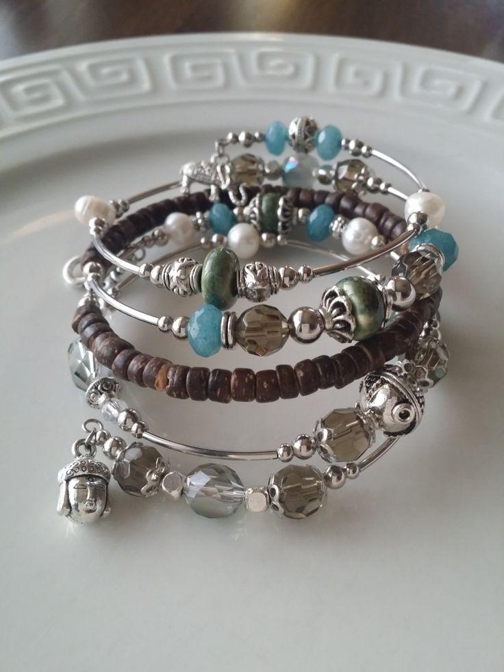 Bracelet fil mémoire, bracelet terre, aquamarine de la boutique TALBOstyle sur Etsy