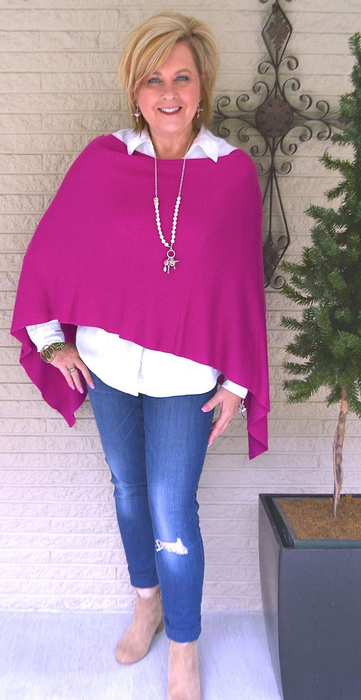50 IS NOT OLD | HOT PINK CROP WRAP | Versatile | Pop of Color | Poncho | Distressed Jeans | Fashion over 40 for the everyday woman