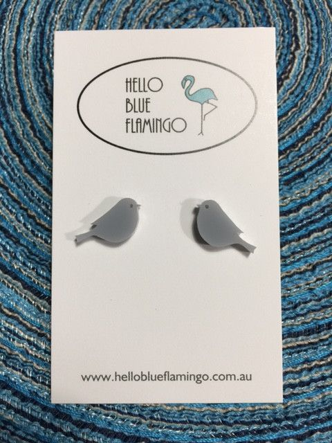 Earrings - Cute Grey Birds