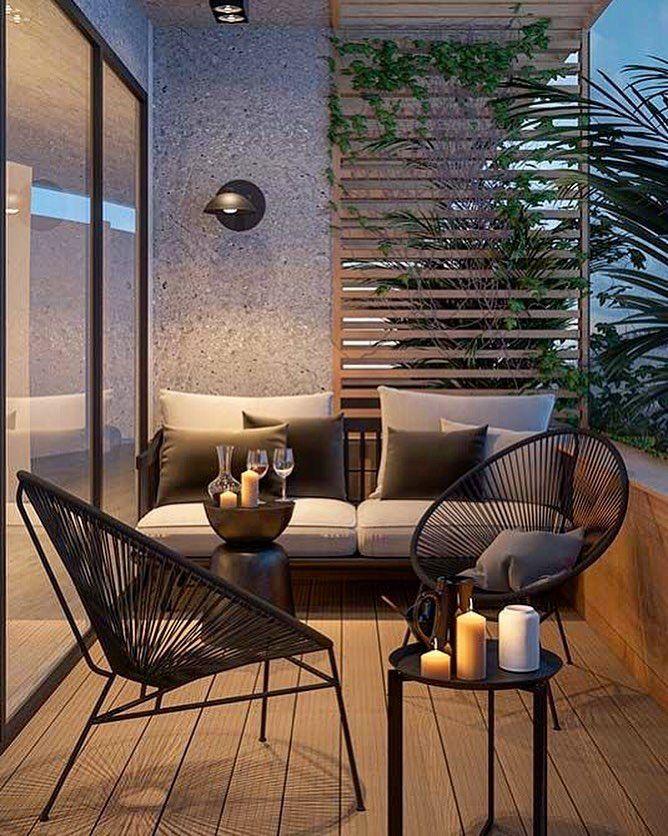 terrace decoration Nicht weil Ihre Terrasse klein ist, kann sie nicht charmant sein !!! 😉 …