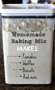 Homemade Baking Mix Recipe  + recipes for pancakes, waffles, & breads.
