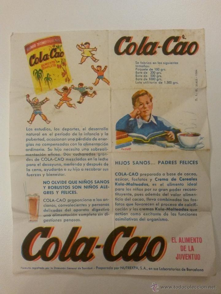 Cartel publicidad de cola-cao, años 60 de 15 x 12 cms - Foto 1