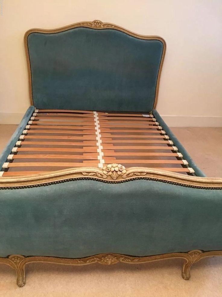 FRENCH DEMI CORBEILLE Upholstered Velvet Bed Double Adjustable SLATTED Base