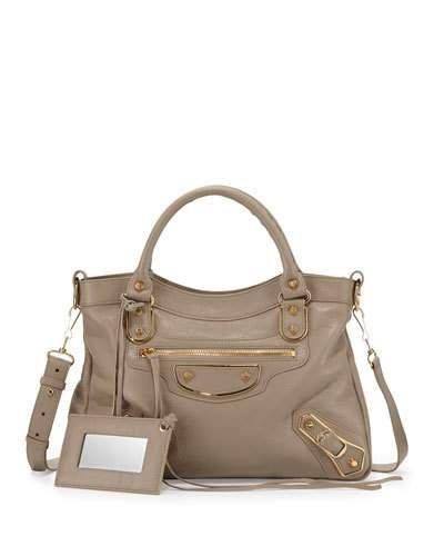 BALENCIAGA EDGE TOWN AJ GOATSKIN SATCHEL BAG, TAUPE. #balenciaga #bags #shoulder bags #hand bags #leather #satchel #cotton #