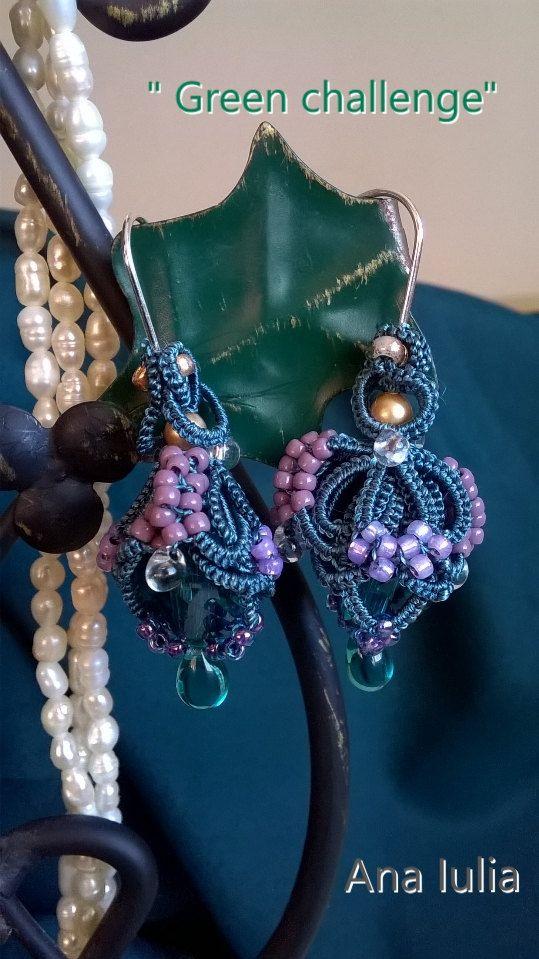 Green challenge - Ankars Tatting  elegant earrings by AnaIuliaTattingLace on Etsy