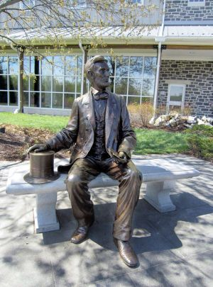 Visitors to the Gettysburg National Military Park often pose with this statue of Abraham Lincoln that sits outside the Visitor Center and Museum in Gettysburg, Pennsylvania. (Diane Stoneback/Allentown Morning Call/MCT)